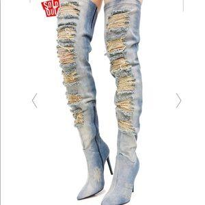 Dolls Kill Privileged Distressed Denim Boot Heels